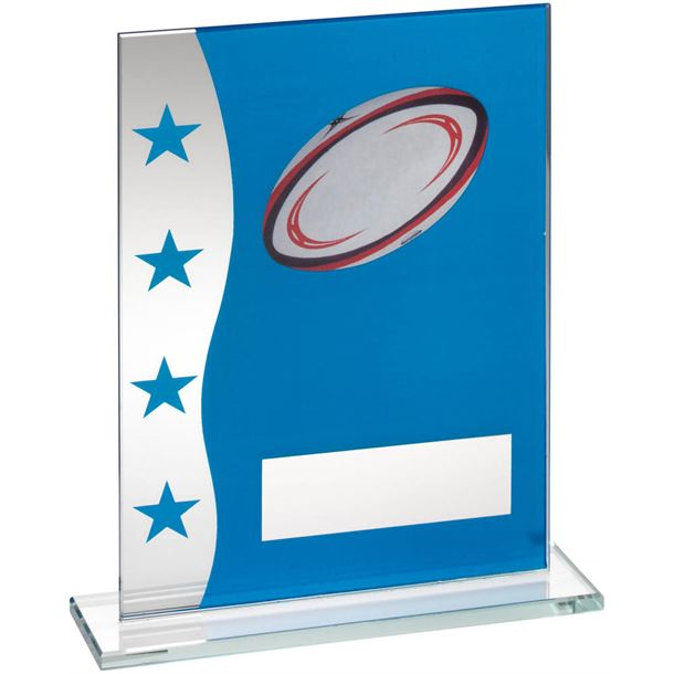 "Rugby Blue & Silver Star Printed Glass Plaque Award 16.5cm (6.5"")"
