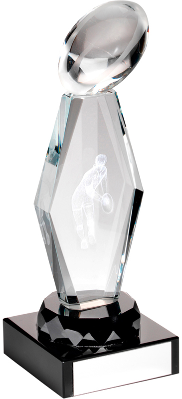 "Optical Crystal Rugby Column on Black Base Trophy 19cm (7.5"")"