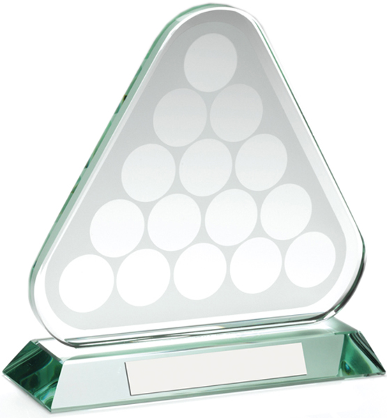 "Snooker/Pool Balls Triangle Glass Award 17cm (6.75"")"