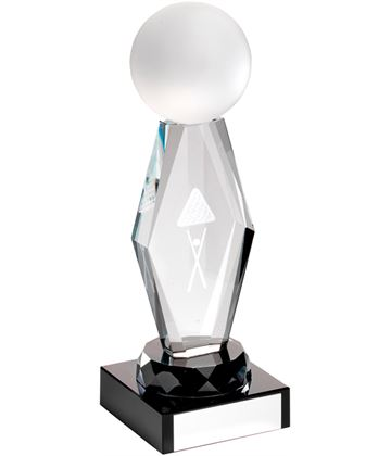 "Optical Crystal Pool/Snooker Column On Black Base Award 16cm (6.25"")"