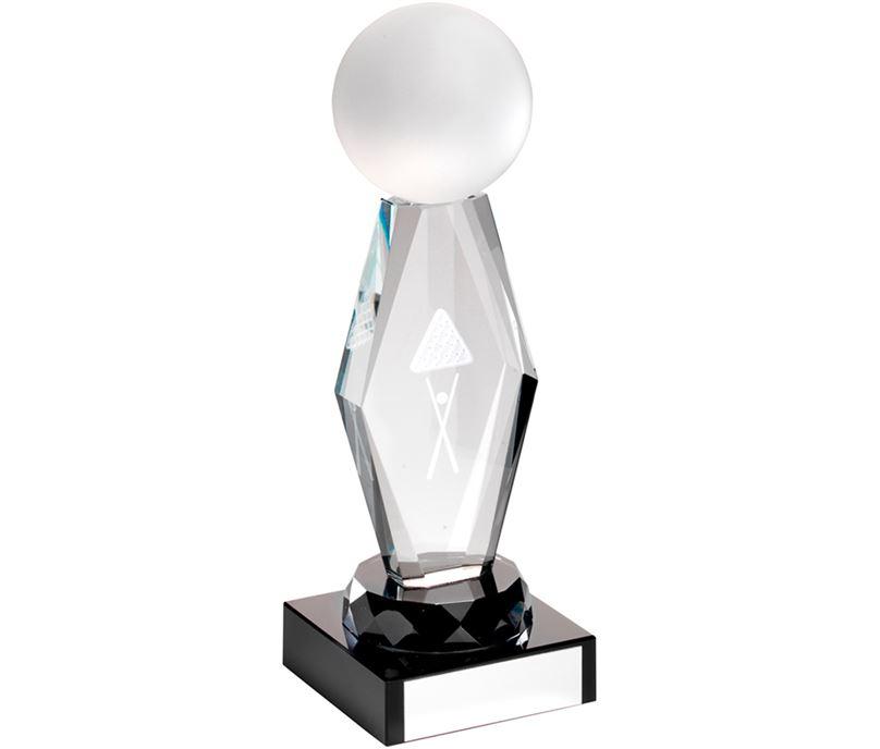 "Optical Crystal Pool/Snooker Column On Black Base Award 18.5cm (7.25"")"