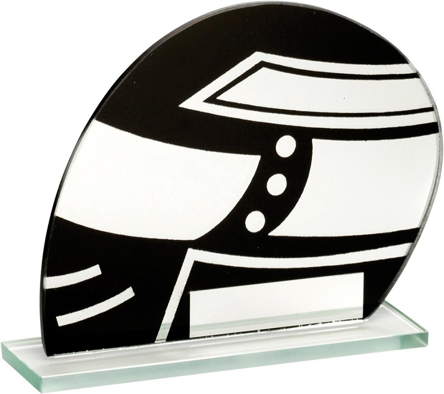 "Jade Glass Black & Silver Motorsports Helmet Trophy 11cm (4.25"")"