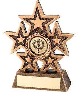 "Gold 5 Star Resin Multi Award Trophy with Laurel Centre 17cm (6.75"")"
