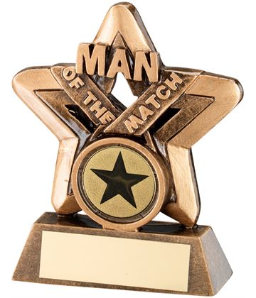 "Gold Resin Man Of The Match Mini Star Trophy 9.5cm (3.75"")"