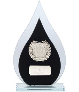 "Laurel Wreath Flame Glass Plaque Award Black & Silver 16.5cm (6.5"")"