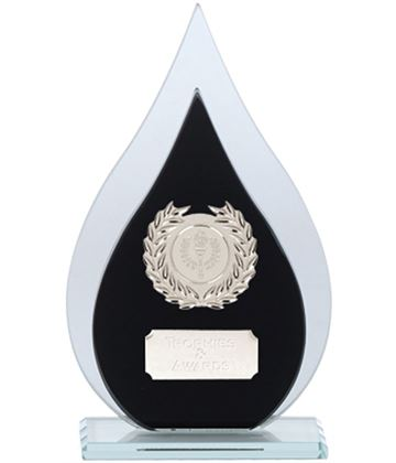 "Laurel Wreath Flame Glass Plaque Award Black & Silver 16.5cm (6.5"")"