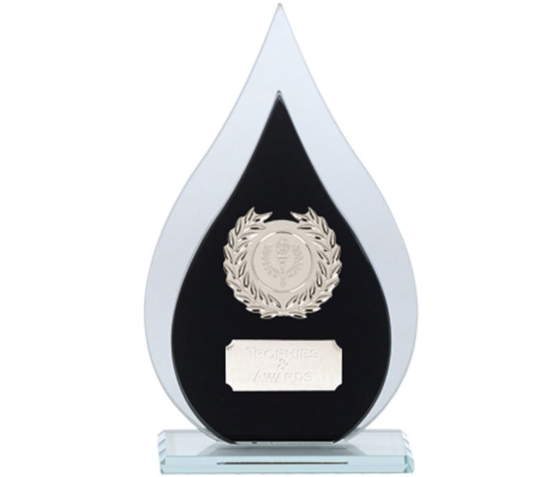 "Laurel Wreath Flame Glass Plaque Award Black & Silver 19cm (7.5"")"