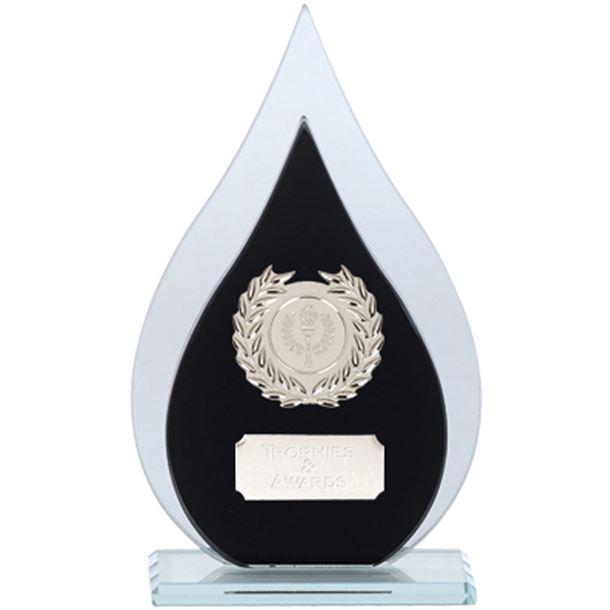 "Laurel Wreath Flame Glass Plaque Award Black & Silver 21cm (8.25"")"