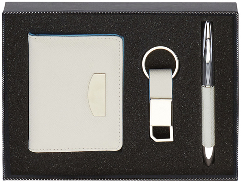 "White Wallet, Pen & Keyring Gift Box Set 20.5cm (8"")"