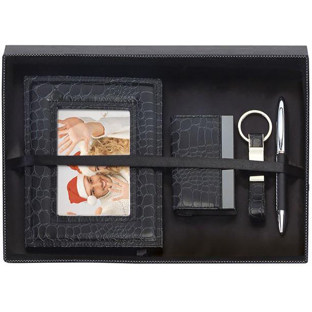 "Black Photo Frame, Card Case, Pen & Keyring Gift Box Set 30.5cm (12"")"