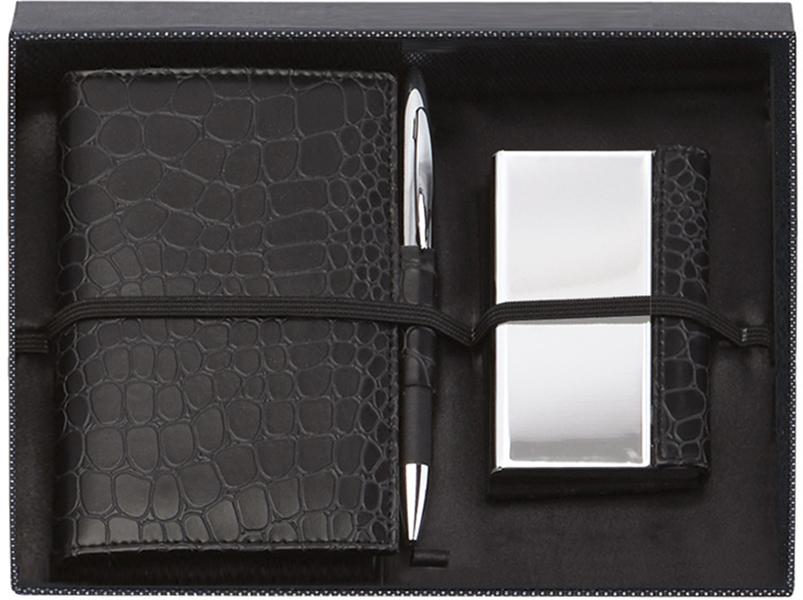 "Black Notebook, Card Case & Pen Gift Box Set 23cm (9"")"