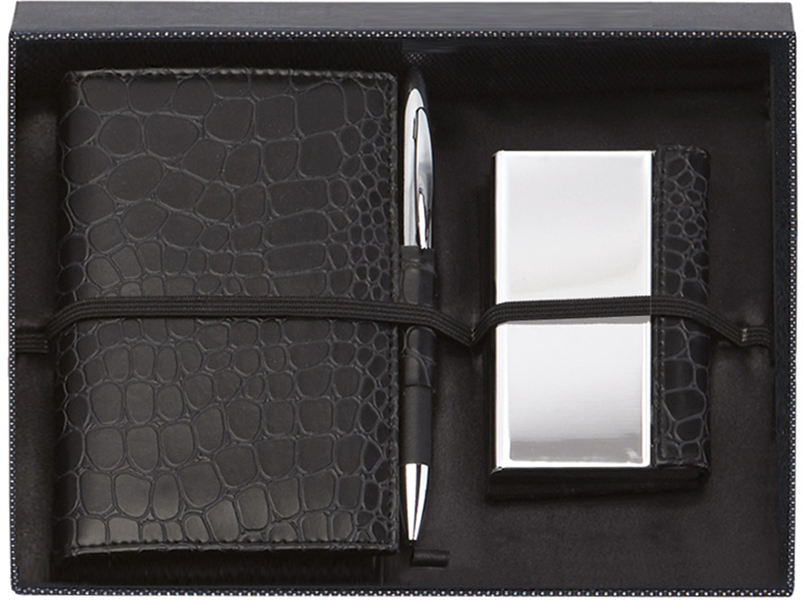 "Black Notebook, Card Case & Pen Gift Box Set 23cm (9"")"