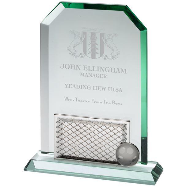 "Jade Glass Rectangle Football 23cm (9"")"