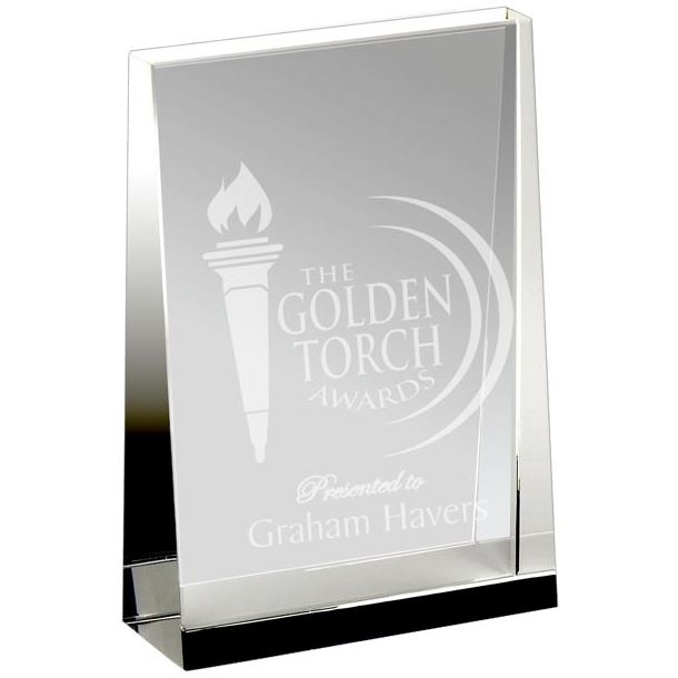 "Heavyweight Optical Crystal Guardian Wedge Plaque Award 15cm (6"")"