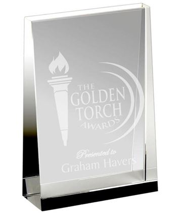"Heavyweight Optical Crystal Guardian Wedge Plaque Award 23cm (9"")"