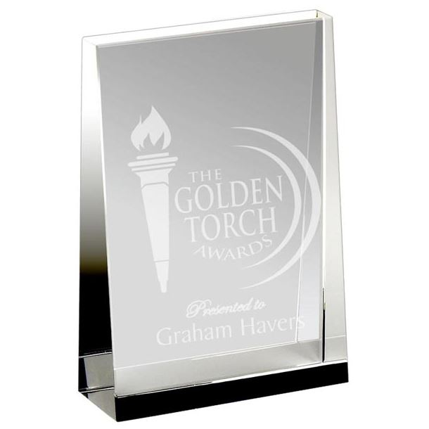 "Heavyweight Optical Crystal Guardian Wedge Plaque Award 23cm (9"")"