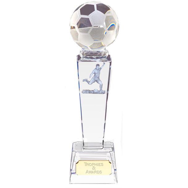 "Optical Crystal Footballer & Ball Award 21.5cm (8.5"")"