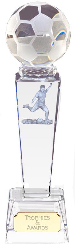 "Optical Crystal Footballer & Ball Award 23.5cm (9.25"")"