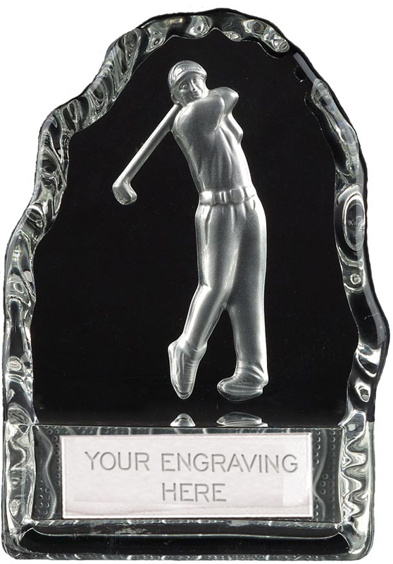 "Frosted Golfer Iceberg Glass Award 11cm (4.25"")"