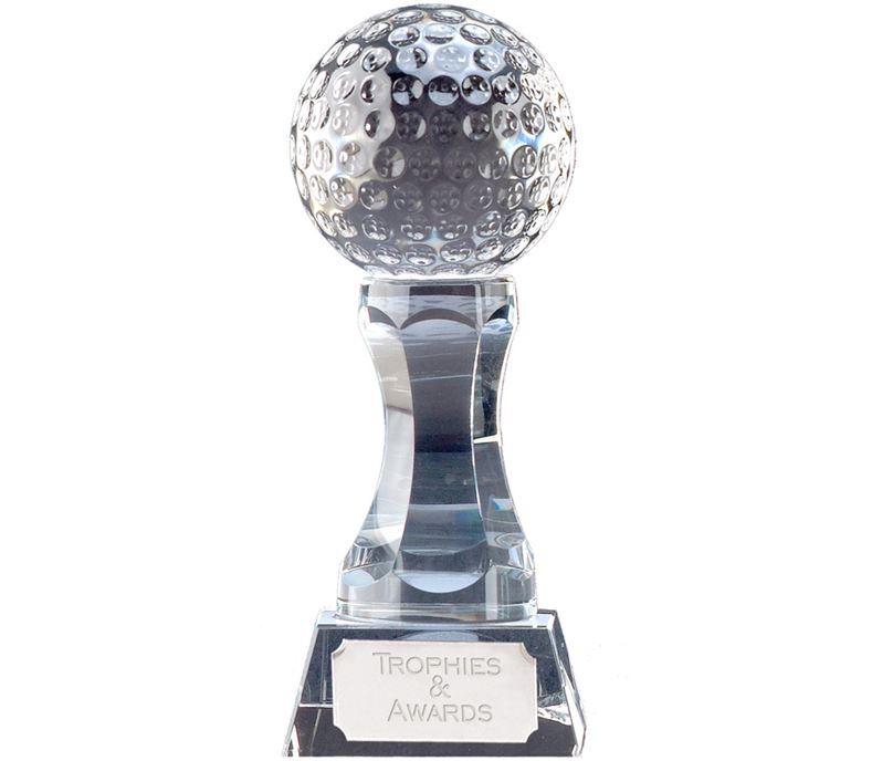 "Heavyweight Optical Crystal Golf Ball Trophy 11.5cm (4.5"")"