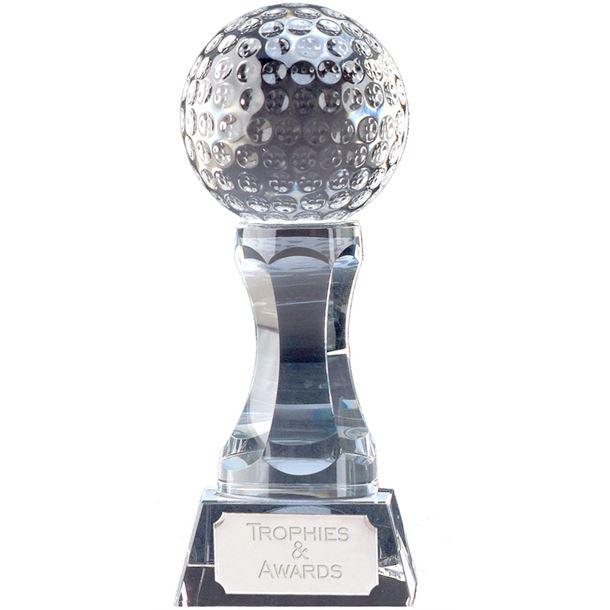 """Heavyweight Optical Crystal Golf Ball Trophy 18cm (7"""")"""