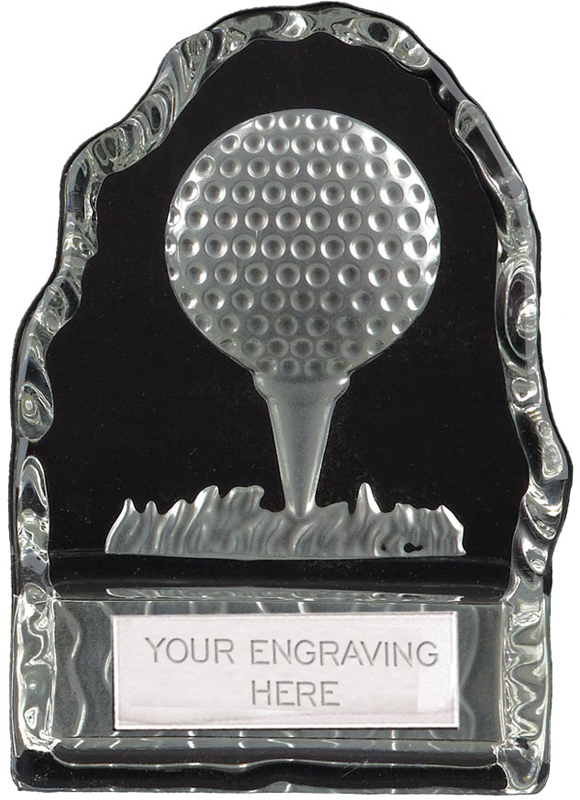 "Frosted Golf Ball & Tee Iceberg Glass Award 11cm (4.25"")"