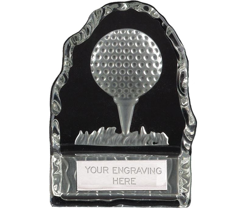 "Frosted Golf Ball & Tee Iceberg Glass Award 11cm (4.25"")"