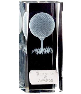 "Clarity Golf Ball & Tee Glass Block Award 11.5cm (4.5"")"
