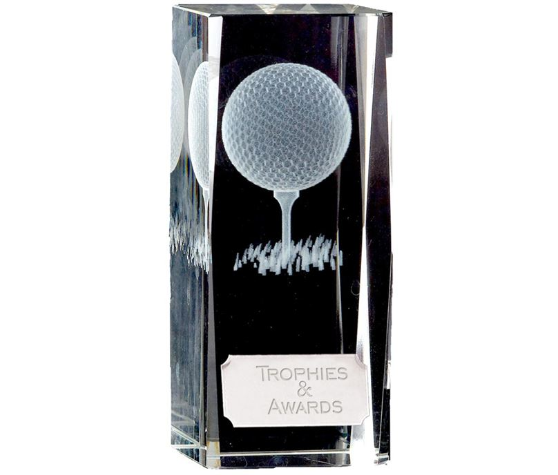 "Clarity Golf Ball & Tee Glass Block Award 11.5cm (4.5"")"
