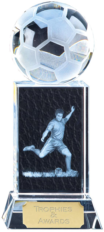 """Clarity Frosted Action Football Block Award 15cm (6"""")"""