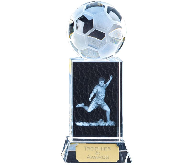 "Clarity Frosted Action Football Block Award 15cm (6"")"