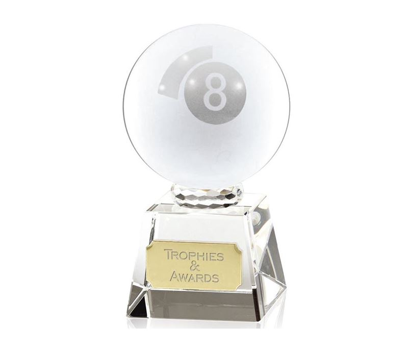"""Frosted Glass 8-Ball Pool Award 9.5cm (3.75"""")"""