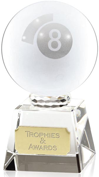 """Frosted Glass 8-Ball Pool Award 10cm (4"""")"""