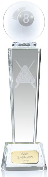 "Frosted 8-Ball Pool Glass Column Award 18cm (7"")"