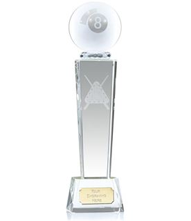 """Frosted 8-Ball Pool Glass Column Award 21.5cm (8.5"""")"""