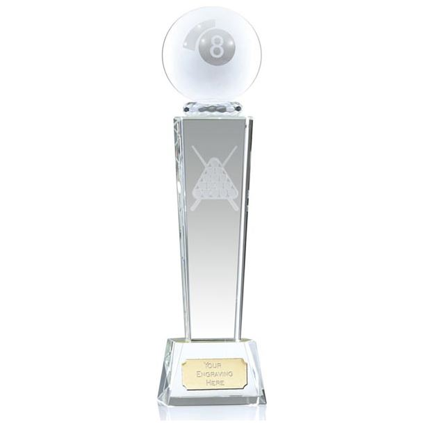 """Frosted 8-Ball Pool Glass Column Award 23.5cm (9.25"""")"""