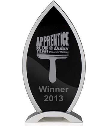 "Black Tear Drop Glass Award with Silver Trim 22cm (8.75"")"