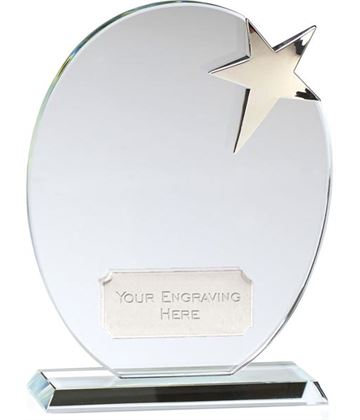 "Optical Crystal Silver Star Oval Glass Award 16.5cm (6.5"")"