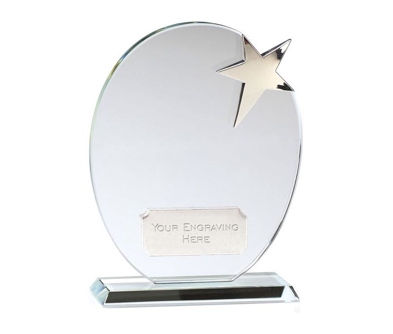 "Optical Crystal Silver Star Oval Glass Award 16.5cm (6.5"")"