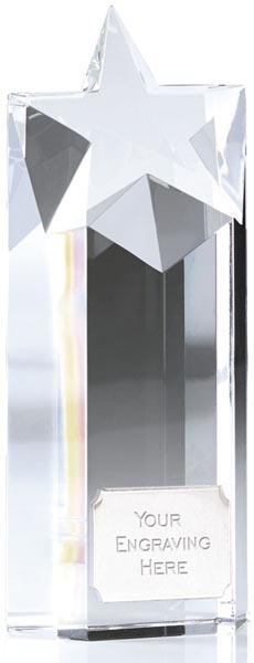 "Heavyweight Optical Crystal Star Column Award 14cm (5.5"")"