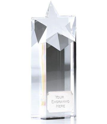 "Heavyweight Optical Crystal Star Column Award 14cm (5.5"")"