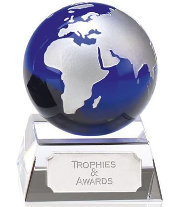 "Aqua Globe Optical Crystal Award 9cm (3.5"")"