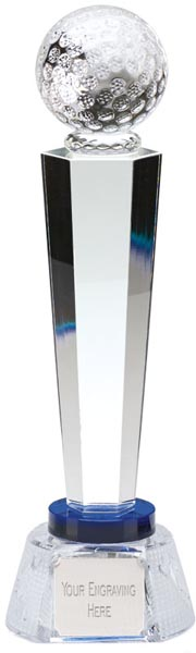 "Optical Crystal Golf Column Award with Golf Patterned Base 25.5cm (10"")"