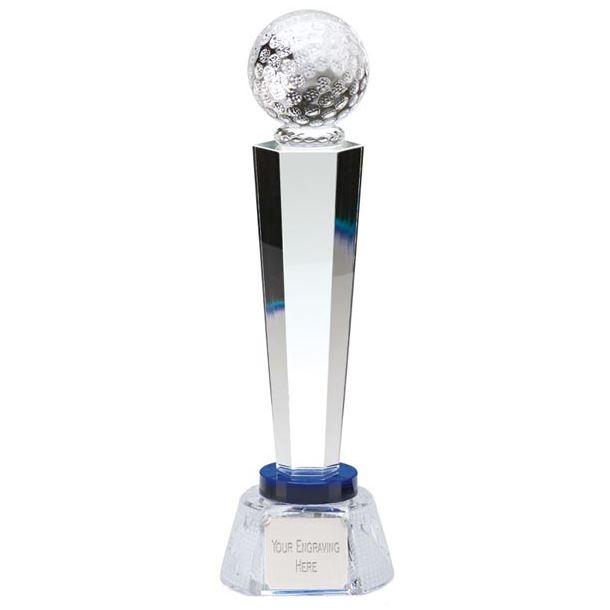 "Optical Crystal Golf Column Award with Golf Patterned Base 25.5cm (10"")"