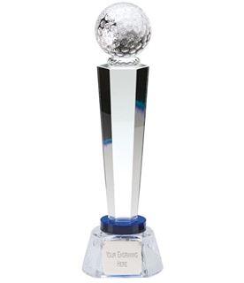 "Optical Crystal Golf Column Award with Golf Patterned Base 28cm (11"")"