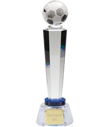 """Optical Crystal Agility Football Column Award with Blue Collar 25.5cm (10"""")"""
