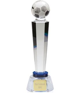 "Optical Crystal Agility Football Column Award with Blue Collar 28cm (11"")"