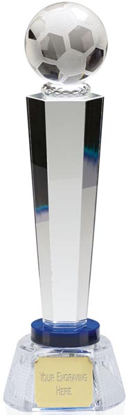 """Optical Crystal Agility Football Column Award with Blue Collar 29cm (11.5"""")"""