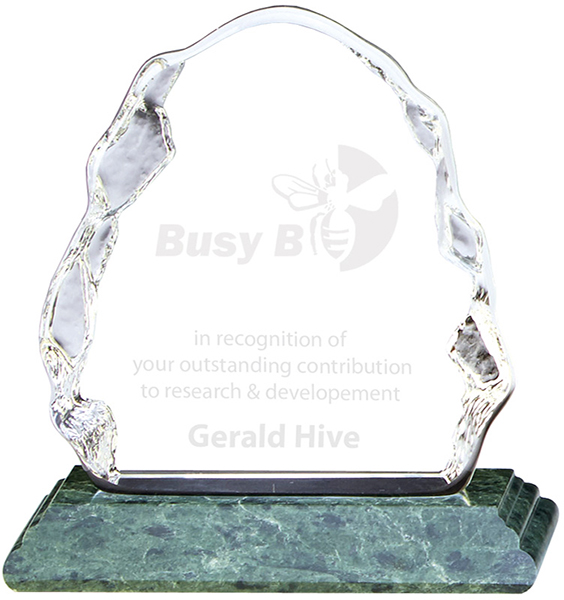 "Ascent Optical Crystal Iceberg Award on Green Marble Base 13.5cm (5.25"")"