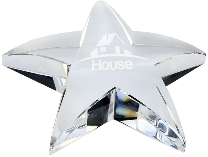 "Optical Crystal Star Paperweight 10cm (4"")"